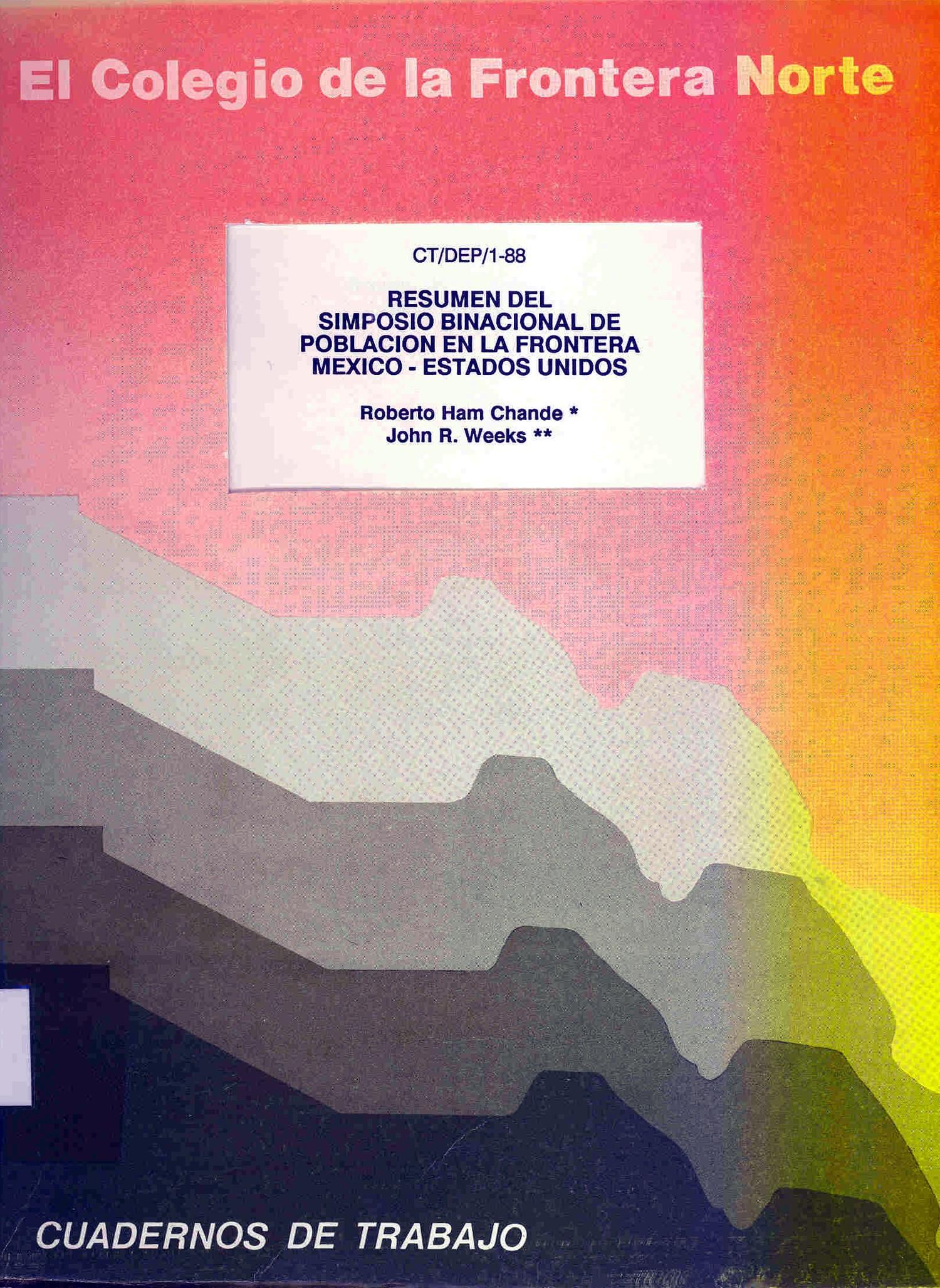 Portada de Resumen del Simposio Binacional de Población en la Frontera México-Estados Unidos